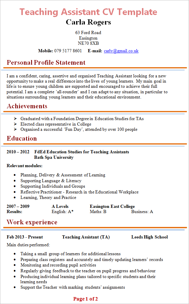 resume objective for a teacher