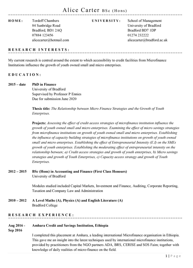 Academic CV template with example content with example content