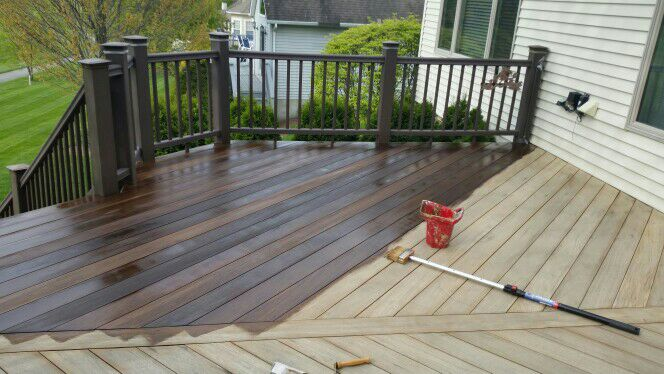 Deck Staining after soft wash service.