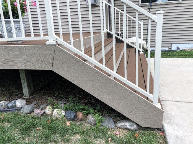 Trex deck stair fascia installation