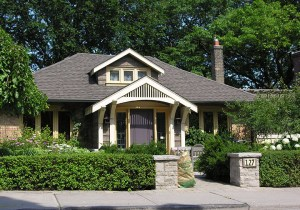 Front view of Craftsman style house by Chris Wallace Architect