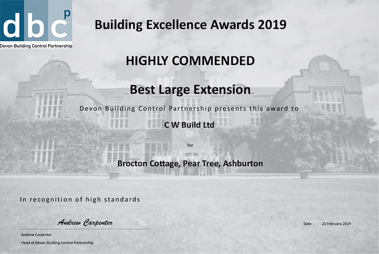 Devon Building Control Partnership 2019 Building Excellence Award CW Build ltd