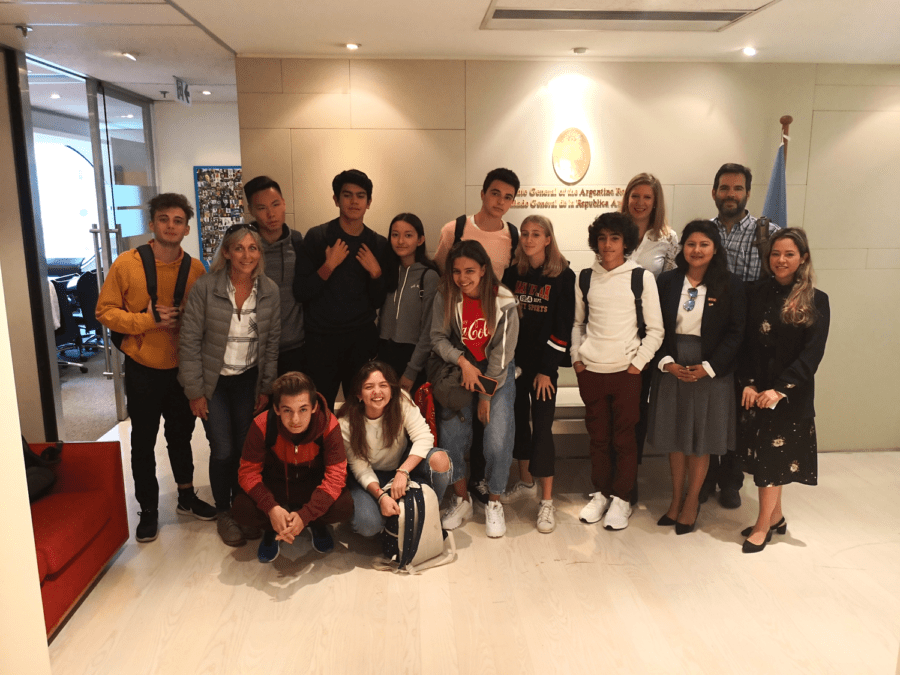 CW Latin Department colleague Gabriela Lenis and Luz Martinez (Far Right Two) share with the students and their experience in China at the Argentinean Consulate in Hong Kong