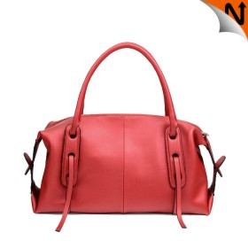 Women's Real Cowhide Leather Dress Handbags Shoulder Bags Coreal Red