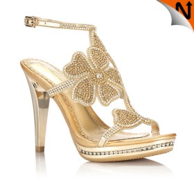 2012 Summer Stylish Sheepskin Leather Diamond Setting Flower Sandals High Heels Golden