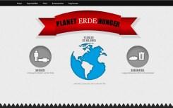 Ein Screenshot der Webseite Planet Hunger mit den beiden nebeneinander herlaufen Countern. Es wird aufgezeigt wieviel Brot in Deutschland weggeschmissen wird und wieviele Kinder auf der Welt verhungern.