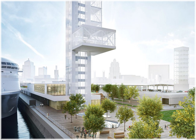 Artist impression of the planned glass observation tower with gardens (© Port of Montreal)
