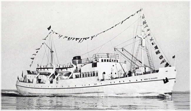 The 76-berth s.s. North Shore cruised weekly from Montreal's Pier 34-35 to the mighty Gulf of St Lawrence