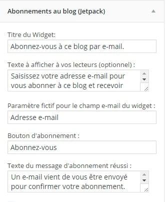 abonnements à un blog grâce au plugin jetpack