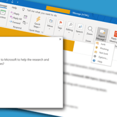 Reporting spam email to Microsoft with the Report Message add-in for Outlook