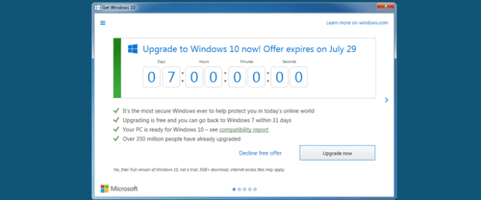 One week to go until Windows 10 is no longer free