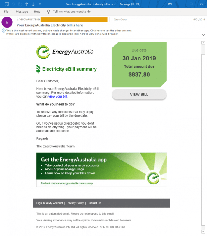 Business email compromise - Example of fake Energy Australia invoice