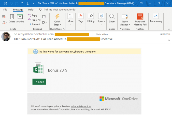 Business email compromise - Example of fake Microsoft Office 365 email