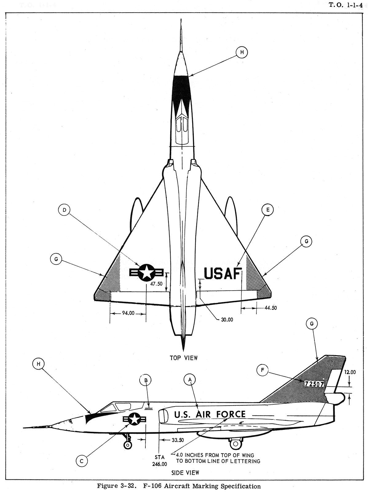 Convair F 106 Delta Dart Usaf To 1 1 4 Color Profile And