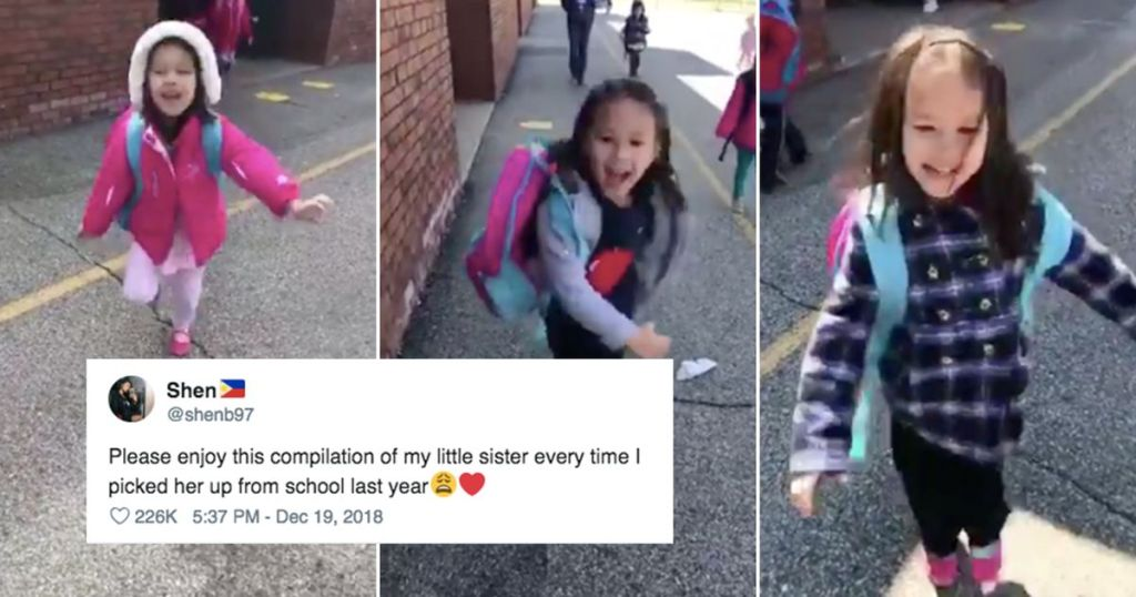 Please enjoy this cute compilation of a little girl greeting her big sister after school