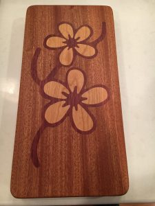 Sapele base with Purple Heart and Cherry Inlay