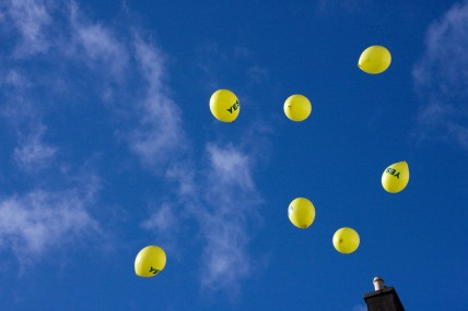 "Yellow Balloons with ""Yes"" in celebration of Ireland passing laws in favour of abortion rights"