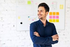 Smiling web designer