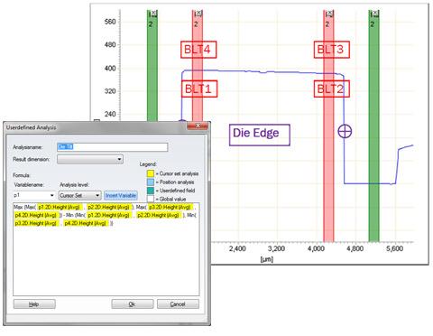 Calculation of die tilt in a virtual task