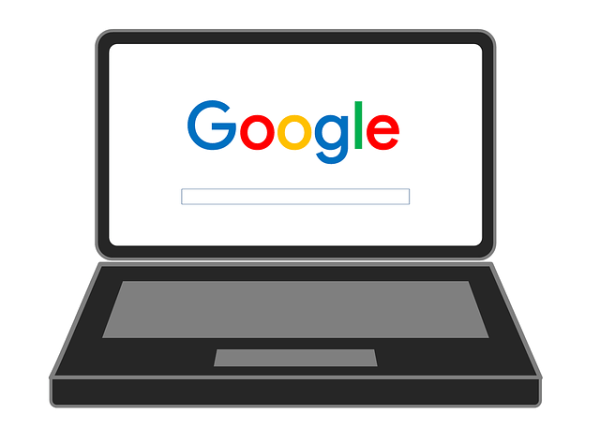 Graphic of a laptop with Google open.