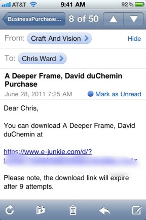 Email from Craft and Vision