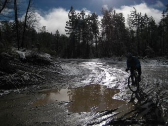 The first climb was muddy in spots.
