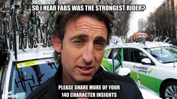 Cycleboredom | Screencap Recap: Milan-San Remo - Matty White Meme