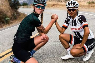 Coryn Rivera, A Pro, Rides Fixed, Up Glendora Mt. Road, With State Bicycle