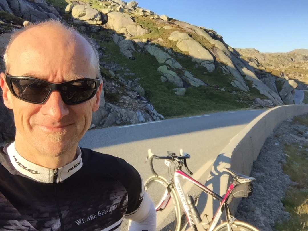 Paul Le Fevre at top of the Lysebotn climb