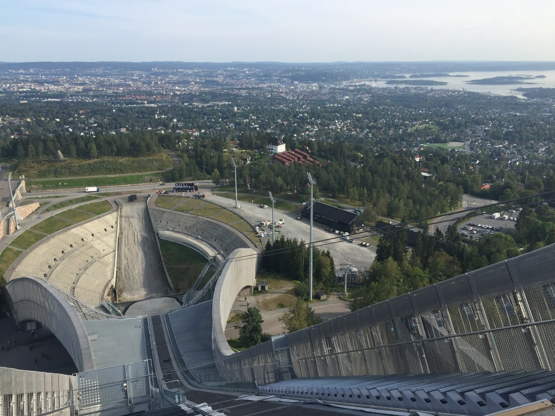 The view down the Holmenkollen ski jump.