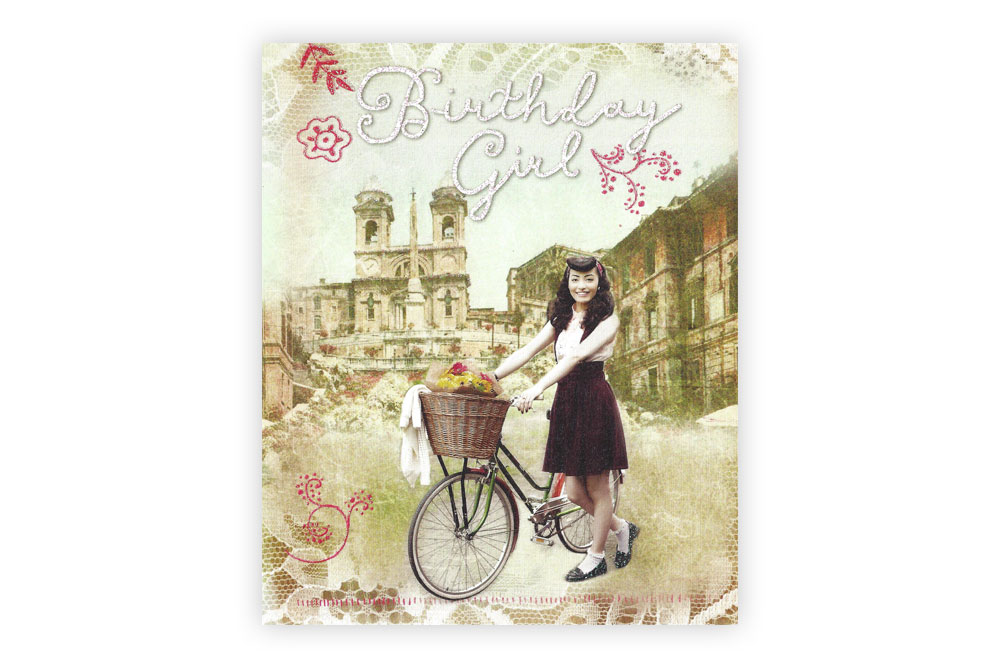 Vintage Bicycle Birthday Girl Greeting Card CycleMiles