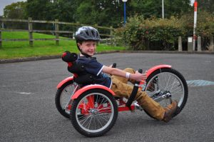 Birmingham NEC Cycle Show - Victor Recumbent bike trike for kids and adult cycling with rear wheel steering