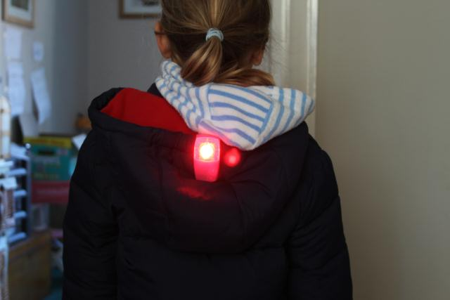 Review of Knog Boomer Wearable light - Photo of Knog Boomer of kids hood