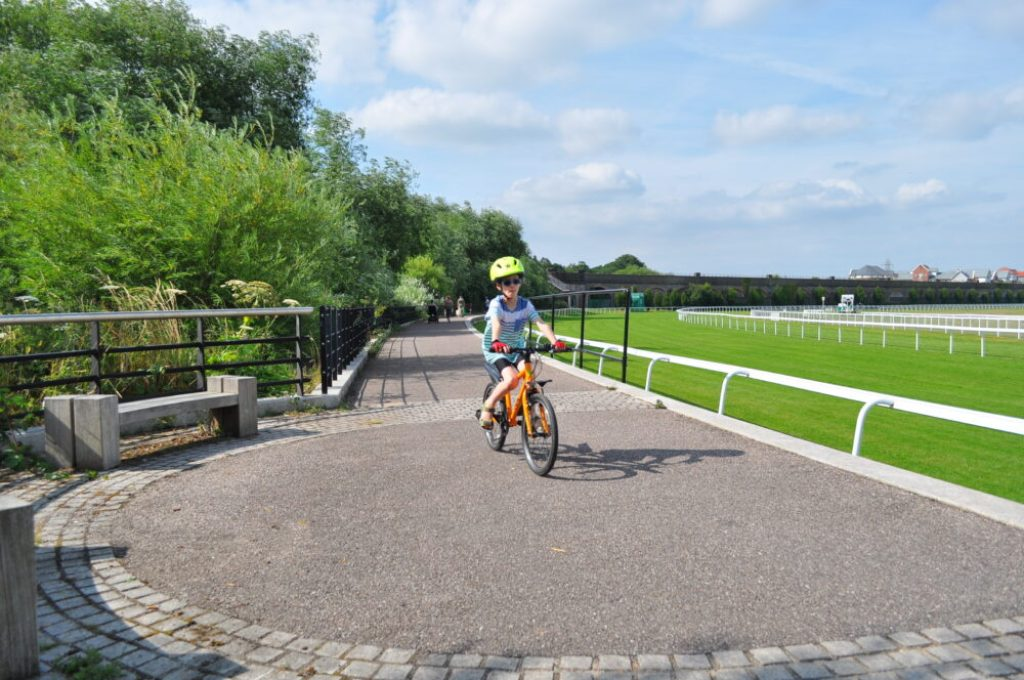 family cycle routes in Cheshire and Wirral - Chester race course has a traffic free path all the way round