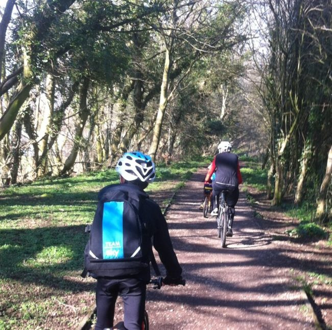 Team Sky Kids Cycling Rucksack in use