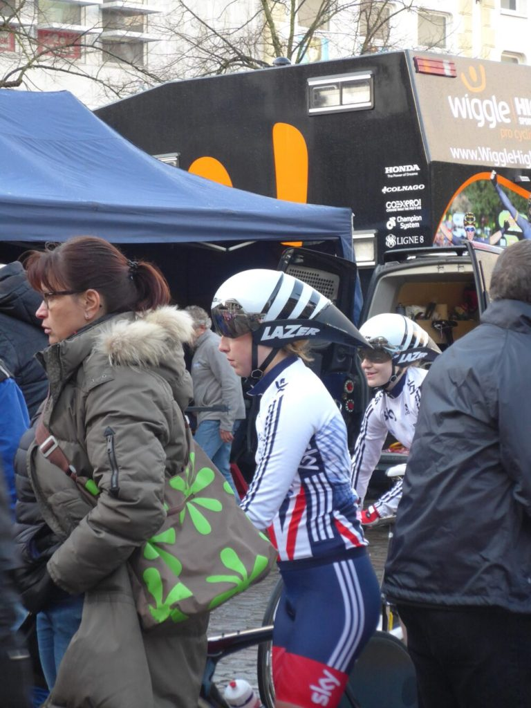 British Cycling Team getting ready for the ladies time trial in Groningen April 6th 2016