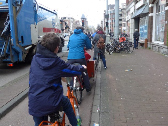 Cycling safely alongside a lorry in Amsterdam, Holland