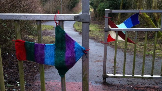 Yarn Bombing of cycle bollards