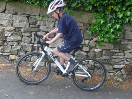 Our 7 year old reviewer of the Frog 58 kids road race bike