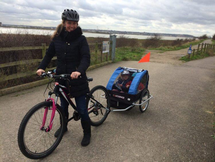 Cycling at RSPB Rainham Marshes with a bike trailer