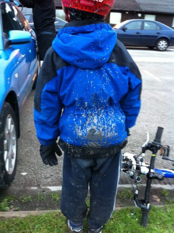 Muddy winter family bike ride