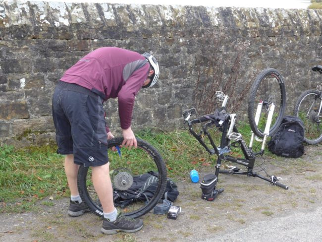 Fixing a puncture at Gisburn Forest
