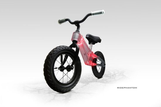Phantom Ride balance bike lights up with the use of LED's