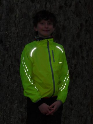 Night time visibility of the Polaris kids packaway cycling jacket