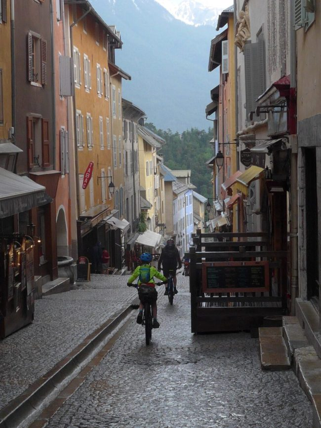 Cycling through the centre of Briancon