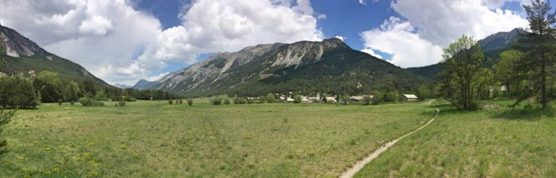 Vallée de la Clarée in the French Alps - panoramic view of valley and Les Alberts