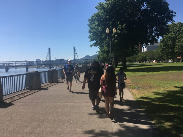 Busy shared use path in Portland