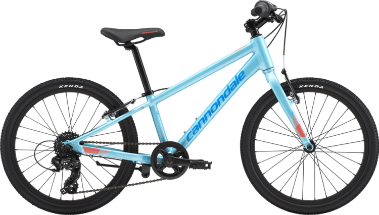 "Cannondale Quick 20 in aqua - one of the best 20"" wheel bikes for children wanting a lightweight, well specified kids bike for kids aged 6, 7 and 8 years of age."