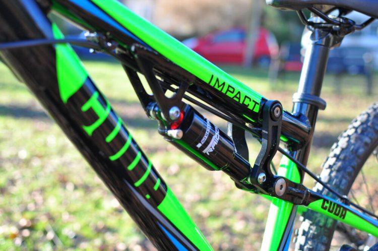 kids full suspension mountain bike - Cuda Impact rear shock