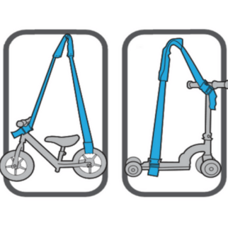 How to carry a balance bike or scooter using a strap